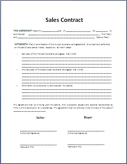 Sales Agreement Template | cyberuse