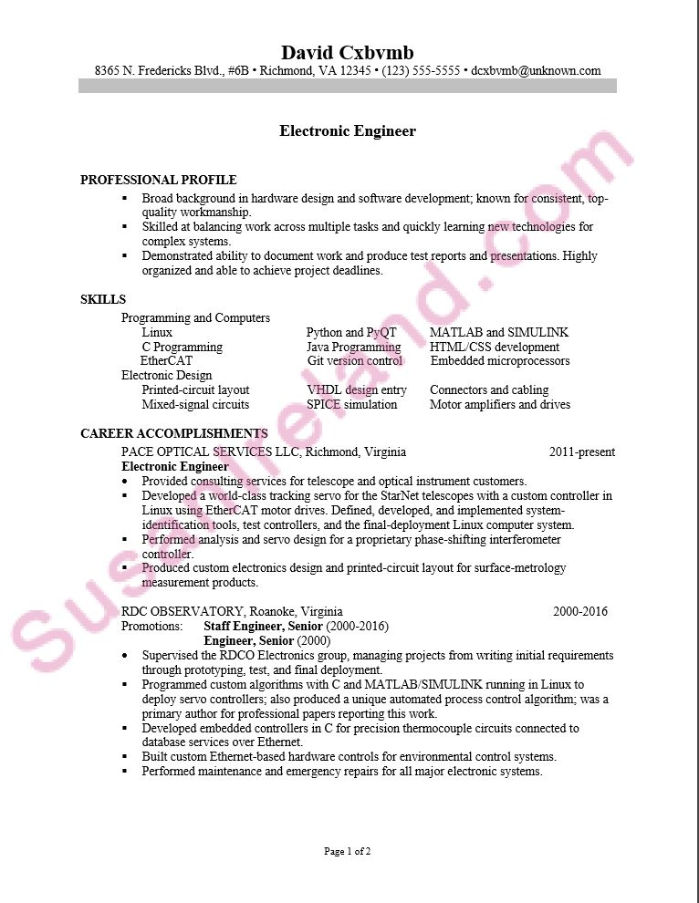 Resume Sample for an Electronics Engineer - Susan Ireland Resumes