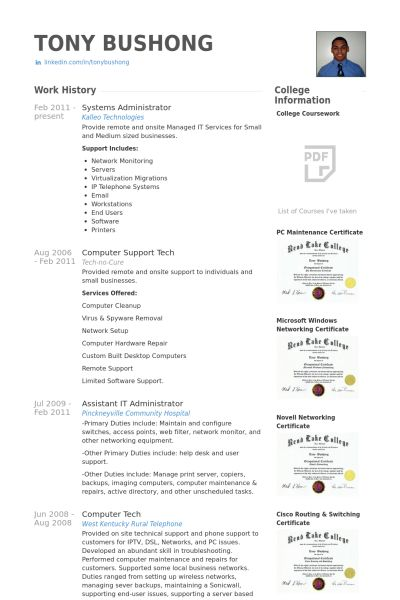 Systems Administrator Resume samples - VisualCV resume samples ...
