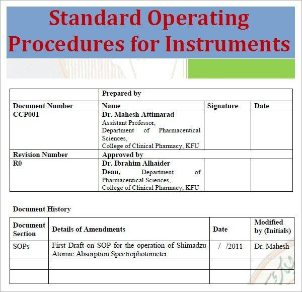Free Standard Operating Procedure Template Word 2010 | Template idea