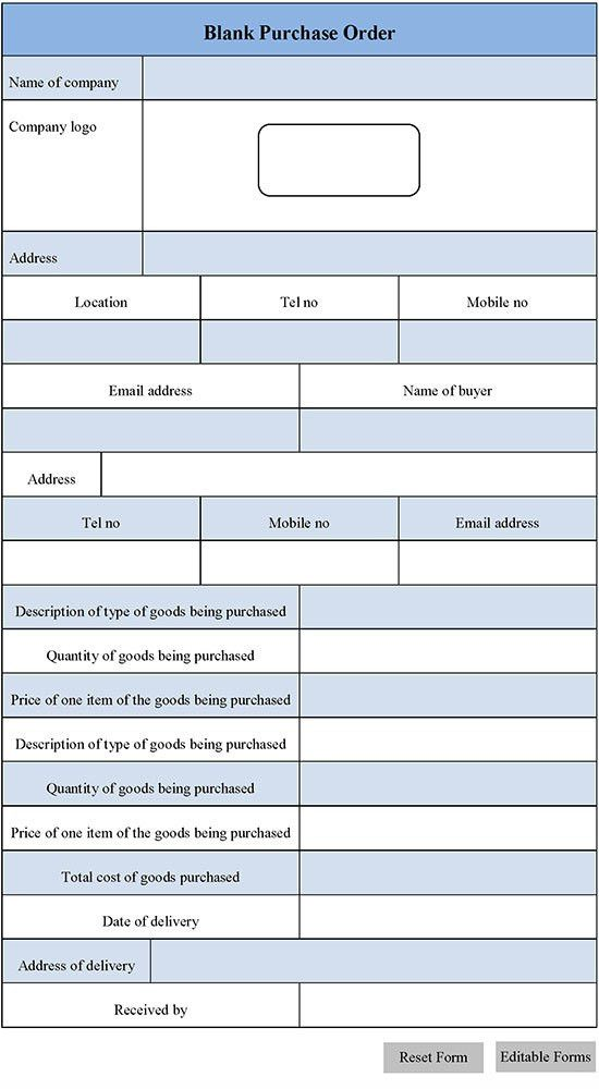 Blank Purchase Order Form | Editable Forms