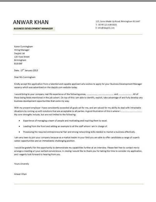 sample business development manager cover letter business