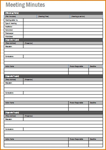 8+ free meeting minutes template | Job Resumes Word