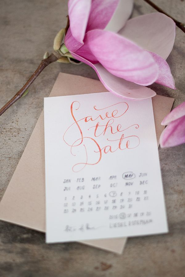 FREE save-the-date printable with ombre watercolor calligraphy by ...