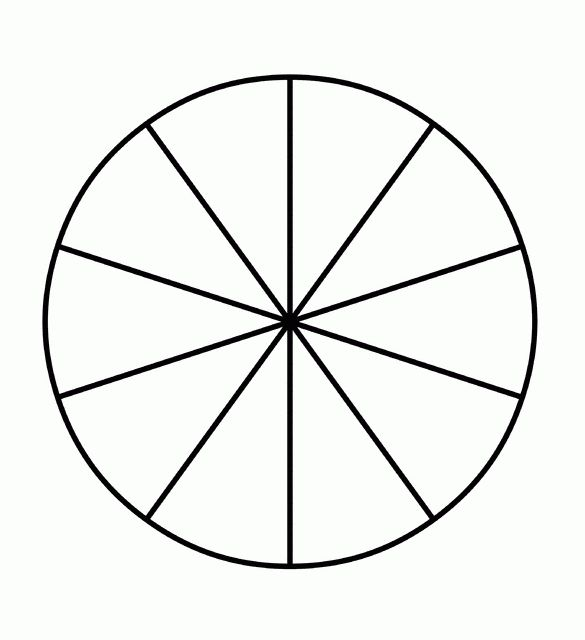 Fraction Pie Divided into Tenths | ClipArt ETC