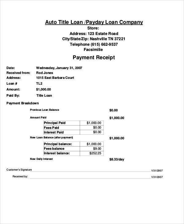 29+ Sample Payment Receipt Templates