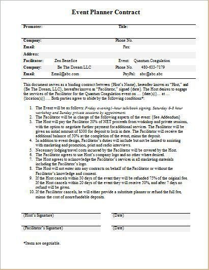 Doc.#585340: Event Planning Contract Samples – Event Contract ...