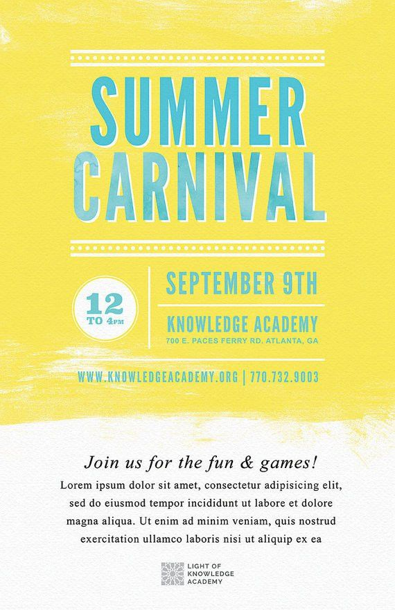 DIY Printable Summer School Carnival Flyer Template Word