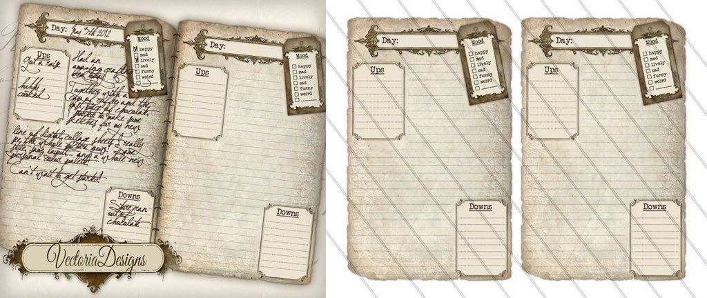 Printable Diary Pages by VectoriaDesigns on DeviantArt