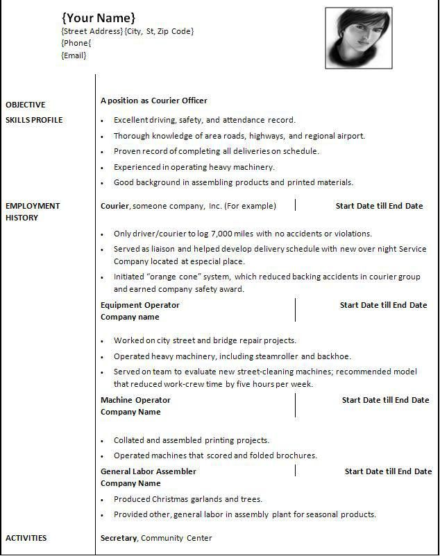 Resume Samples In Word. Resume Template For Word 2010 Resume ...