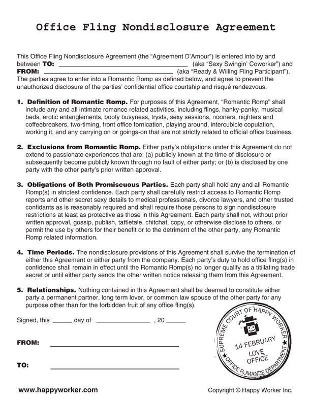 The Non-disclosure Agreement for your Secret Office Lover | Happy ...