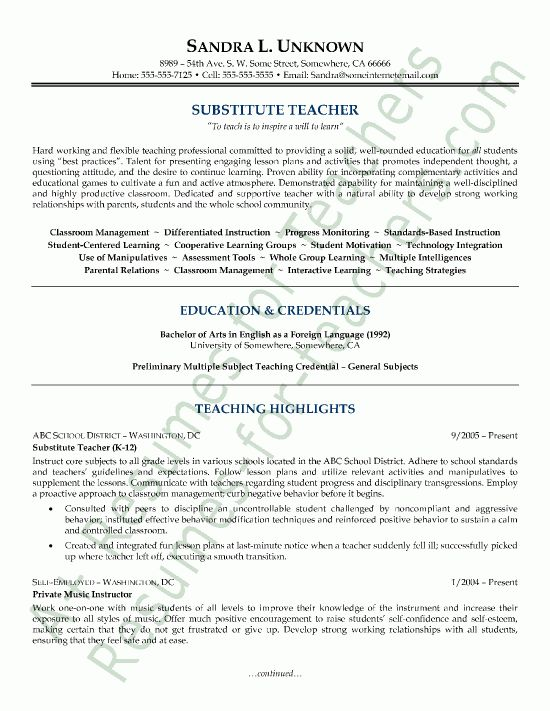 Effective Substitute Teacher Resume And Cover Letter Samples ...