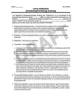 Create a Smoking Lease Addendum | Legal Templates