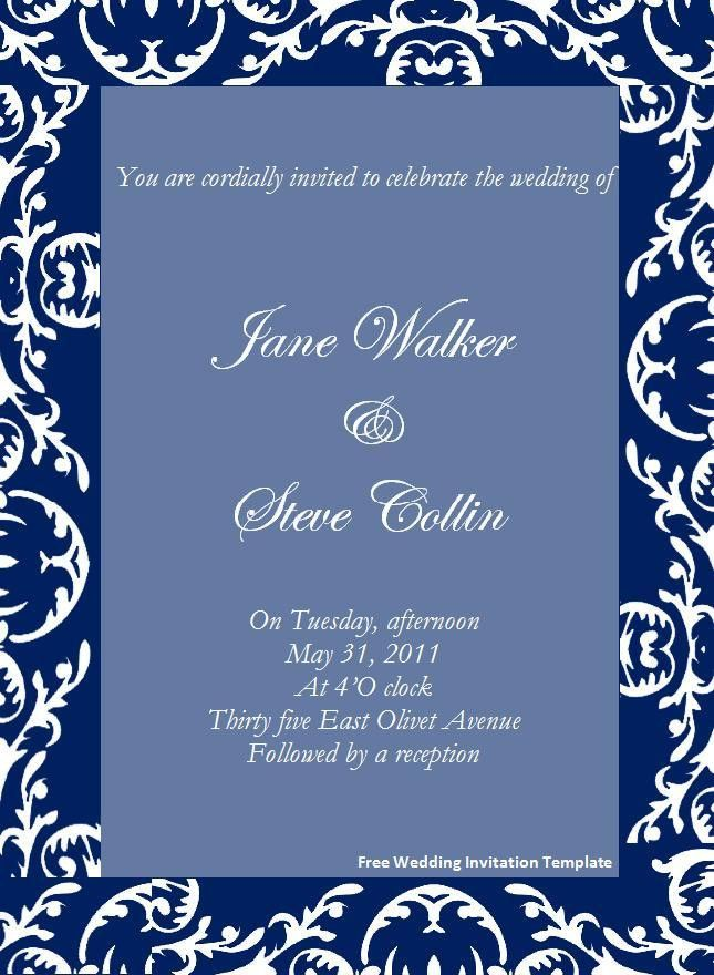 Free Wedding Invitation Templates For Word | THERUNTIME.COM