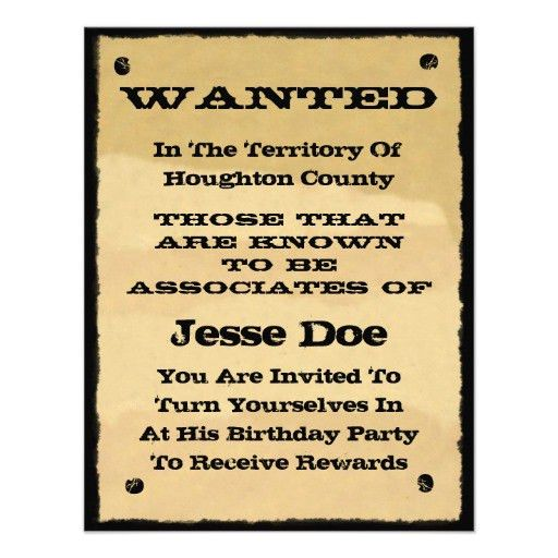 Personalized Wanted Invitations | CustomInvitations4U.com