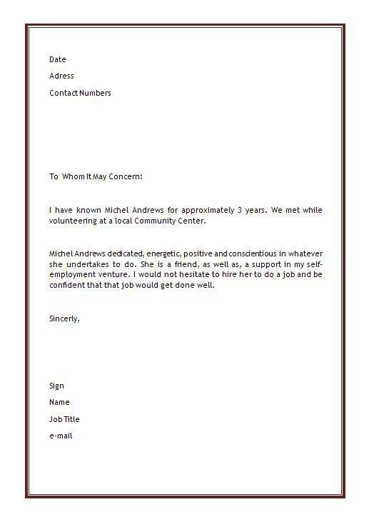 simple recommendation letter for employment simple recommendation ...