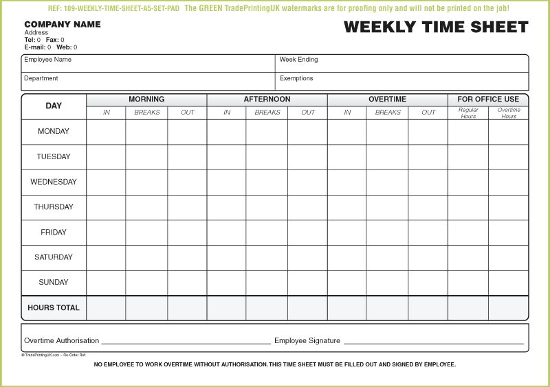 FREE Daily TimeSheet Template Form printed from £40 | Time Sheet Forms