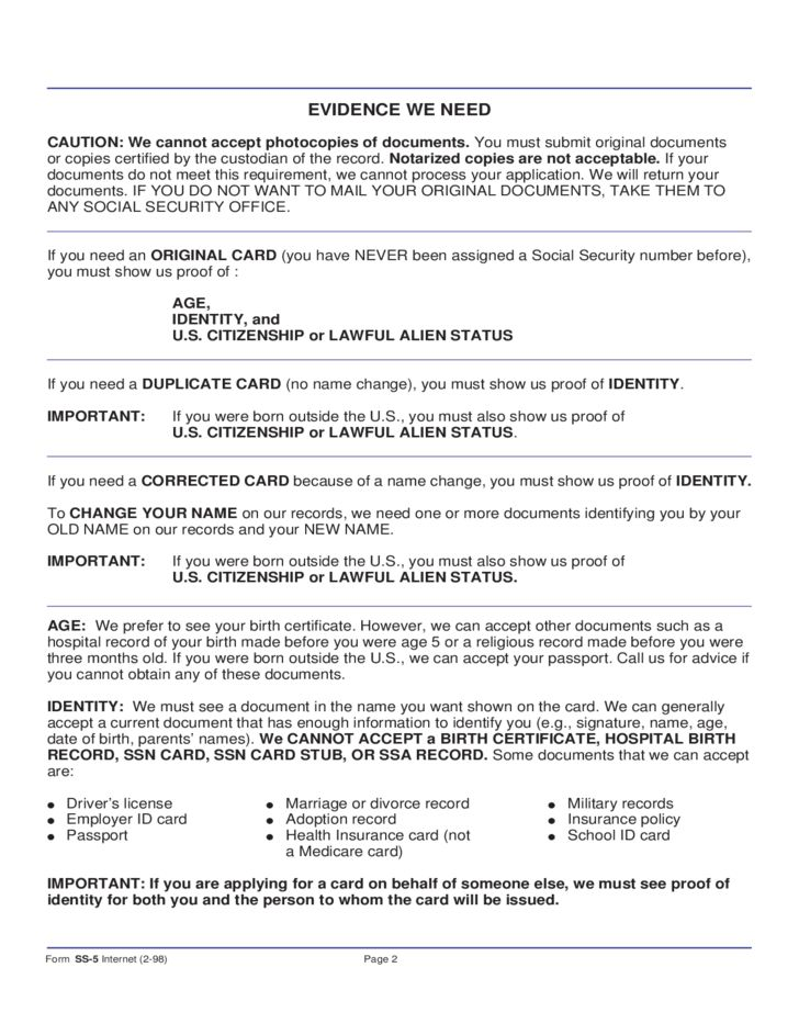 Social Security Card Application Form - Illinois Free Download