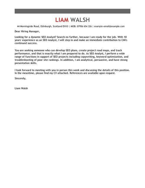Traffic Analyst Cover Letter