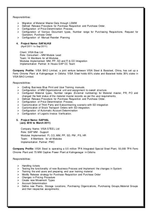 Resume - SAP MM
