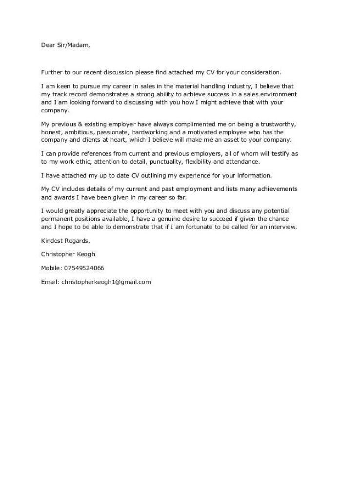 Plain Text Cover Letter