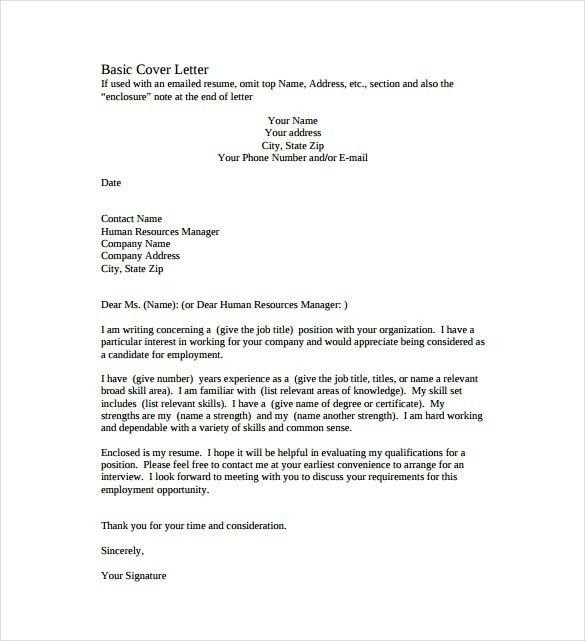 Cover Letter Basic Format - Best Template Collection