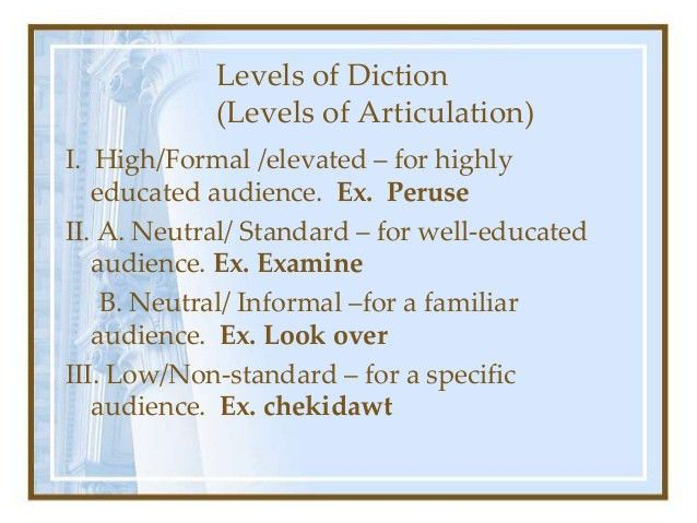 Levels & Types of Diction