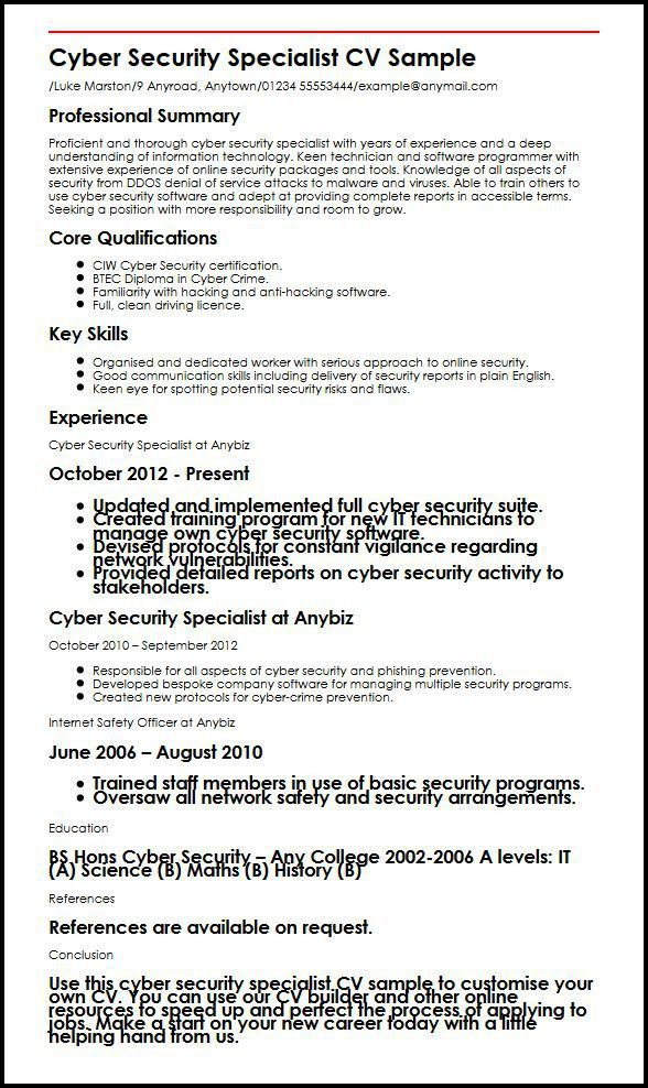 Cyber Security Specialist CV Sample | MyperfectCV