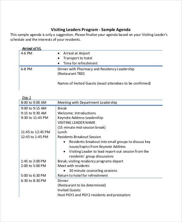 10+ Leadership Agenda Samples - Free Sample, Example Format ...