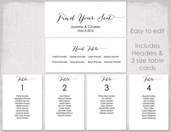 Wedding seating chart template Black Bombshell DIY