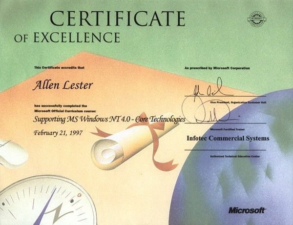 Allen Lester Certifications Page
