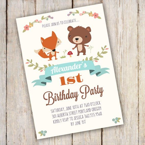 Printable Woodland Birthday Party Invitation Template ...