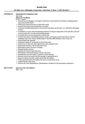 Showroom Coordinator Resume Sample | Velvet Jobs