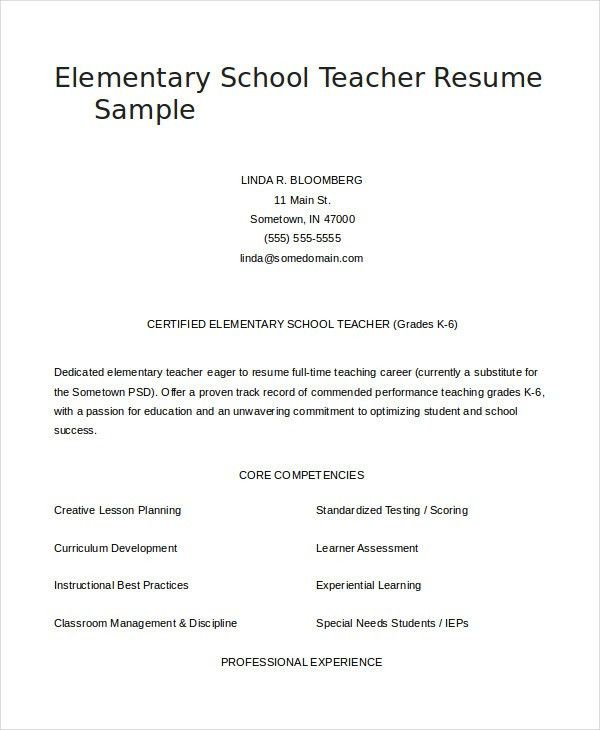 Teacher Resume - 9+ Free Sample, Example, Format | Free & Premium ...