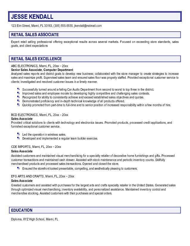 sales associate resume objective retail sales associate jesse ...