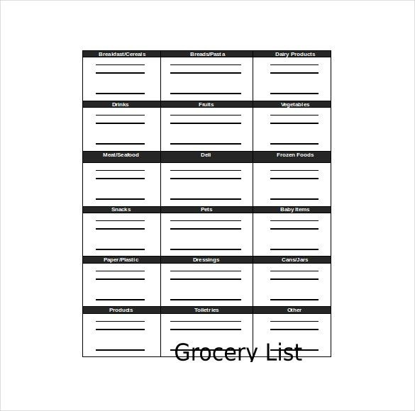Grocery Checklist Template – 11+ Free Word, Excel, PDF Documents ...