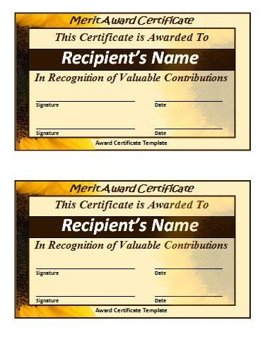 Merit Certificate Template | Free Word Templates