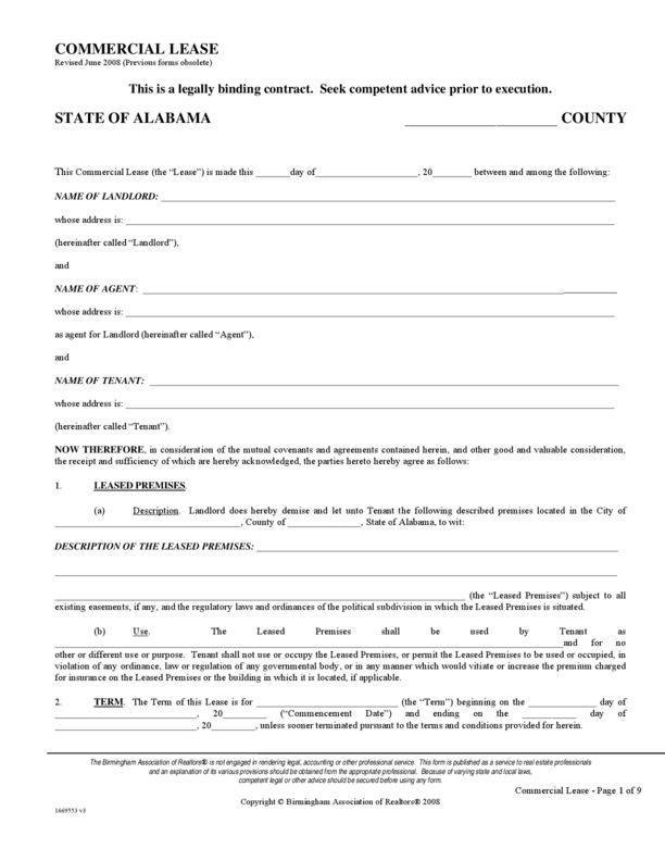 Alabama Rental Lease Agreement Forms | LegalForms.org