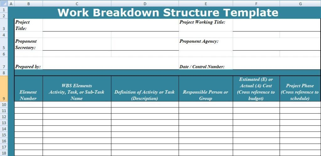 Work Breakdown Structure Templates in Excel - Project Management ...