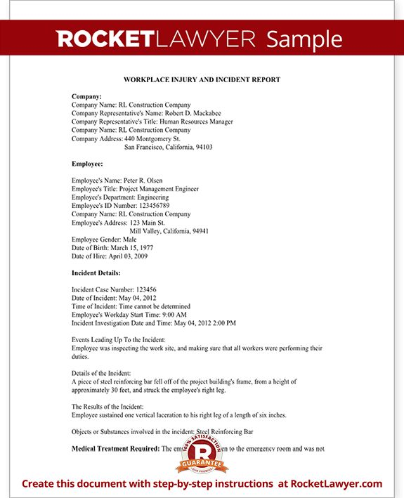 Employee Injury Report Form for OSHA - Work Accident Report ...