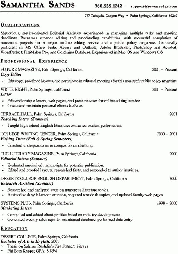 Sample Professional Resume - Copy Editor