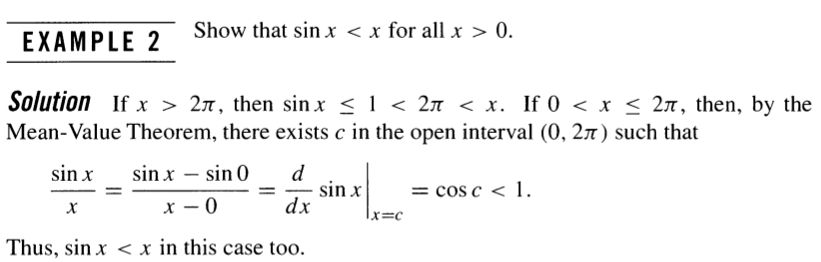 real analysis - Using mean value theorem to show that $\sin x\lt x ...