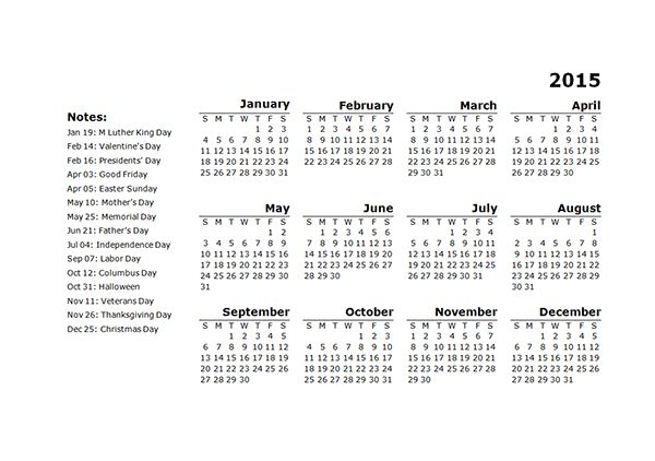 2015 Yearly Calendar Template 11 - Free Printable Templates