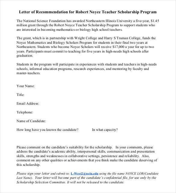 Letters of Recommendation for Scholarship - 26+ Free Sample ...