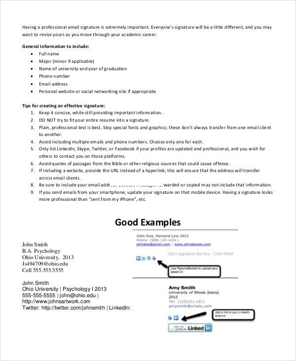 Sample Email Signature Example - 5+ Documents in PDF, WORD