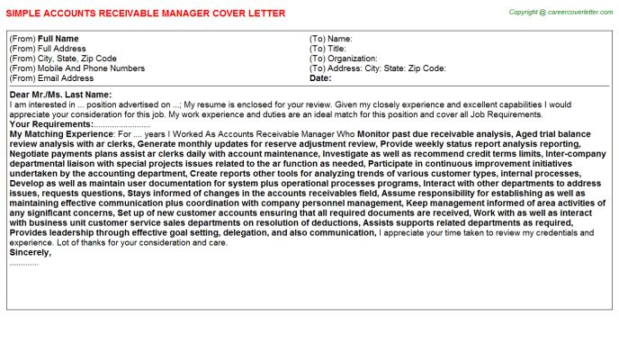 Accounts Receivable Bookkeeper Cover Letters
