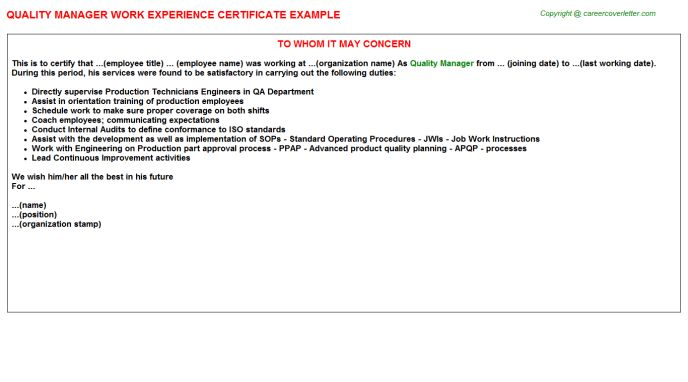 Quality Manager Work Experience Certificate