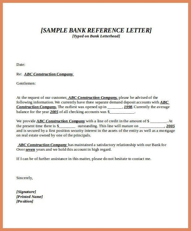 bank reference letter | letter format example