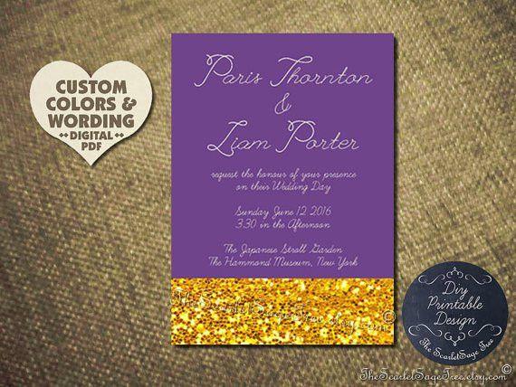 Printable Gold Invitation Idea Purple Custom Color DIY Wedding ...