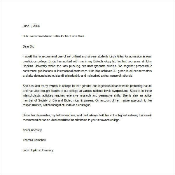 Sample Letter of Recommendation for Scholarship - 29+ Examples in ...